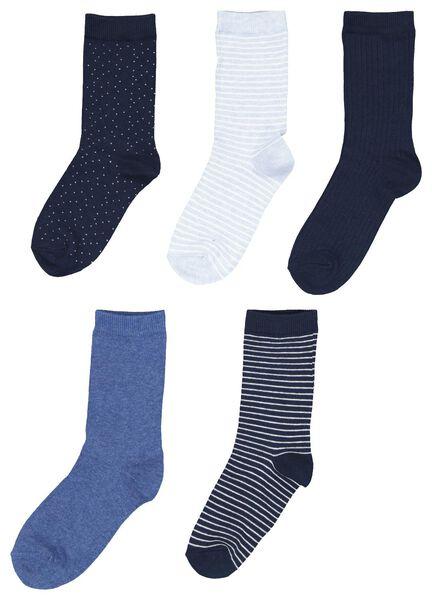 damessokken - 5 paar blauw 35/38 - 4230261 - HEMA