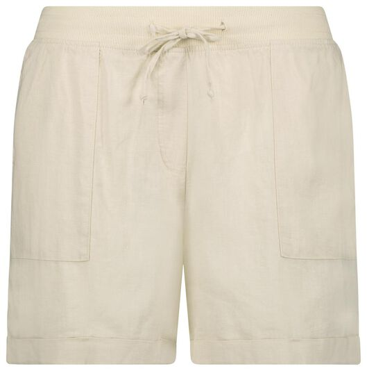 dames short met linnen gebroken wit S - 36282151 - HEMA