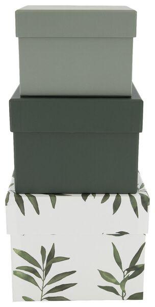 opbergdoos karton olijfblad groen - 3 stuks - 39822221 - HEMA