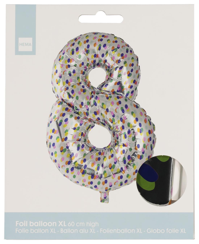 HEMA Folieballon XL Cijfer 8 - Confetti (multi)