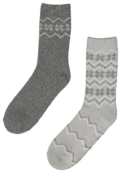 2-pak dameshuisssokken sneeuwvlok grijsmelange grijsmelange - 1000021452 - HEMA