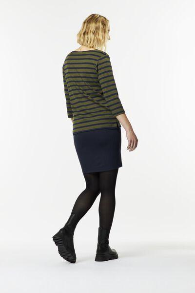 dames t-shirt boothals strepen bruin bruin - 1000024874 - HEMA
