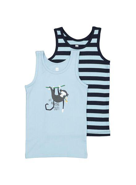 2-pak kinderhemden met bamboe blauw blauw - 1000014605 - HEMA