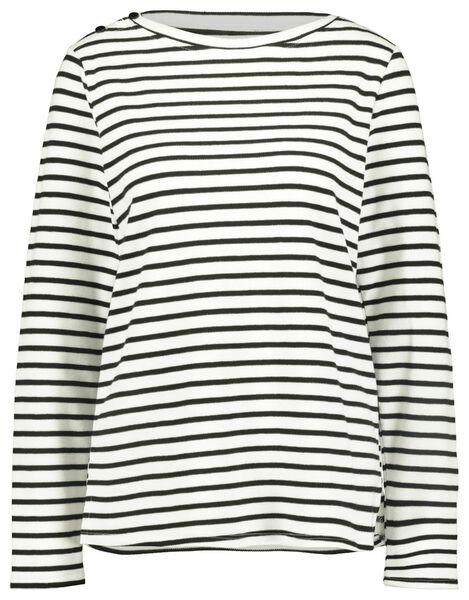dames t-shirt structuur zwart/wit M - 36218062 - HEMA