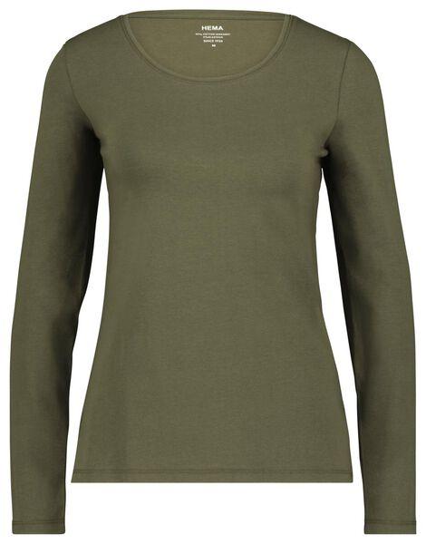dames t-shirt olijf olijf - 1000023502 - HEMA