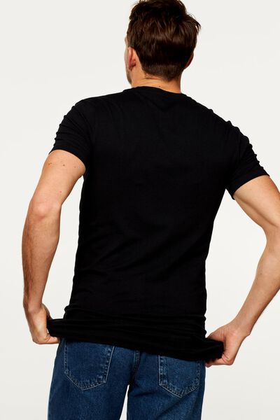 heren t-shirt slim fit zwart zwart - 1000009942 - HEMA