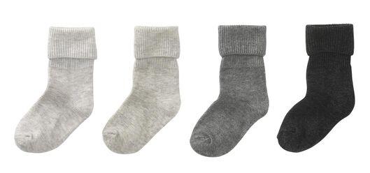 4-pak babysokken grijsmelange 0-6 m - 4752801 - HEMA