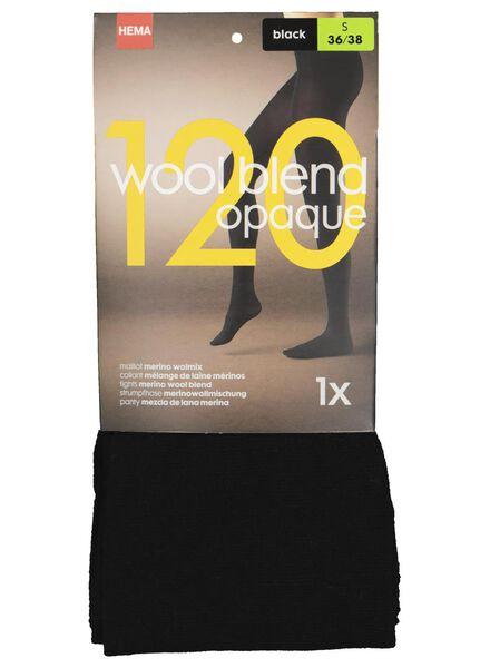 maillot met merino wolmix 120 denier zwart zwart - 1000016524 - HEMA