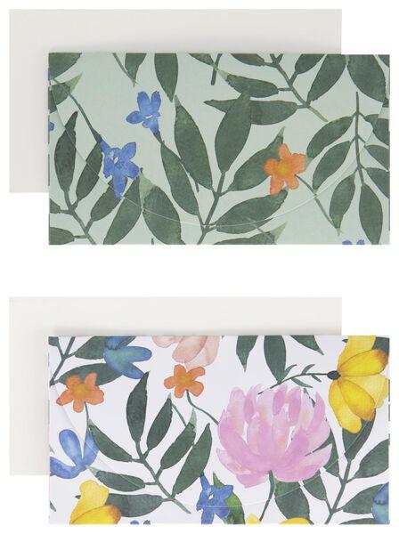 Enveloppen met kaart 10x18 bloemen 2 stuks - in Cadeauverpakkingen
