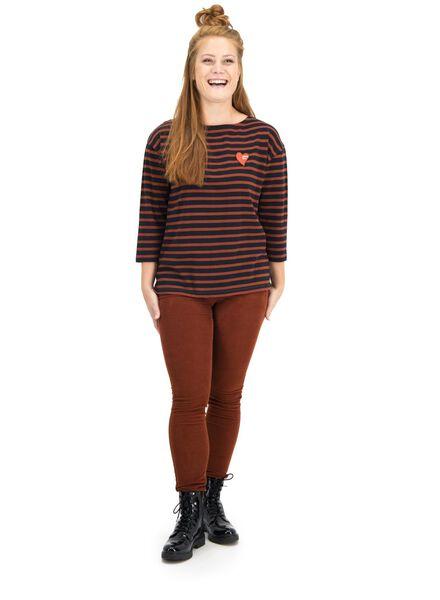 dames t-shirt bruin M - 36236316 - HEMA