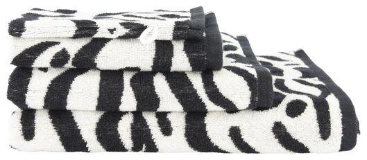 handdoek - zware kwaliteit wit/zwart wit/zwart - 1000019510 - HEMA