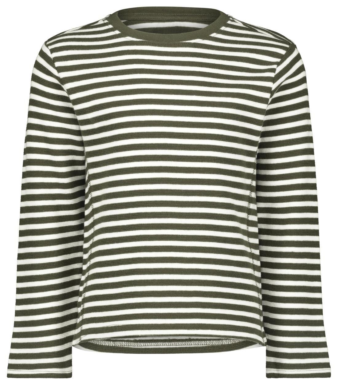 HEMA Kindersweater Strepen Legergroen (legergroen)