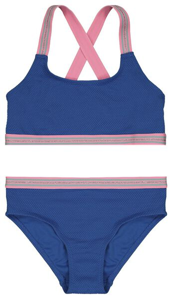 kinder bikini reliëf blauw blauw - 1000023122 - HEMA