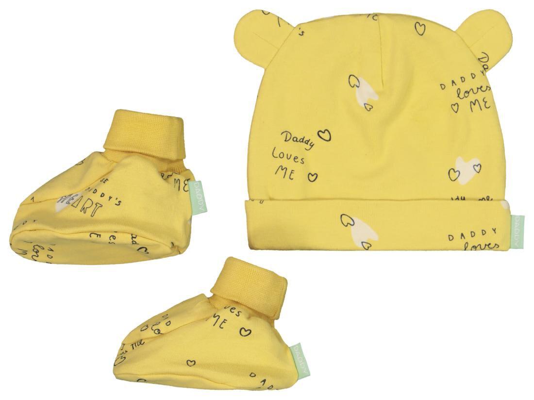 HEMA Newborn Setje Muts En Slofjes 'daddy' - Biologisch Katoen (geel)