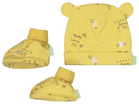 newborn setje muts en slofjes 'daddy' - biologisch katoen - 33431330 - HEMA