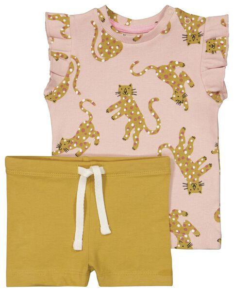 baby t-shirt en broekje roze roze - 1000023835 - HEMA