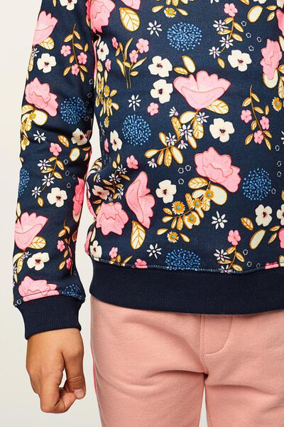 kindersweater bloemen donkerblauw - 1000021952 - HEMA