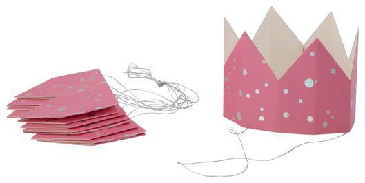 kroontjes papier 6 stuks roze - 14200536 - HEMA