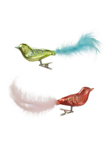 2-pak glazen decoratievogels op clip - 25800031 - HEMA