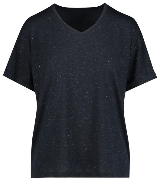 dames t-shirt donkerblauw donkerblauw - 1000019809 - HEMA