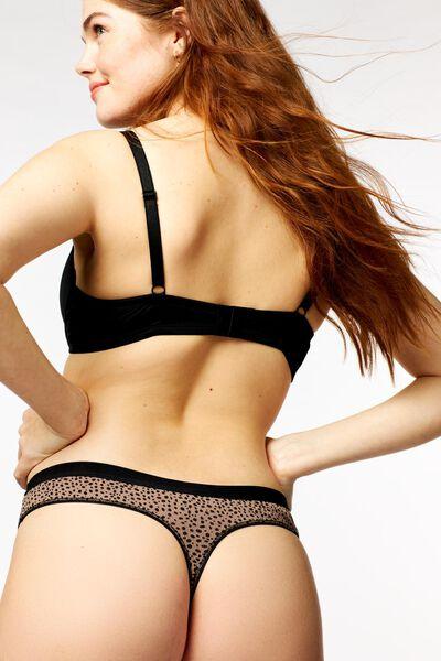 damesstring rib stippen bruin bruin - 1000022710 - HEMA