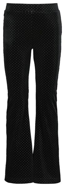 kinderbroek flared velvet stip zwart zwart - 1000021628 - HEMA