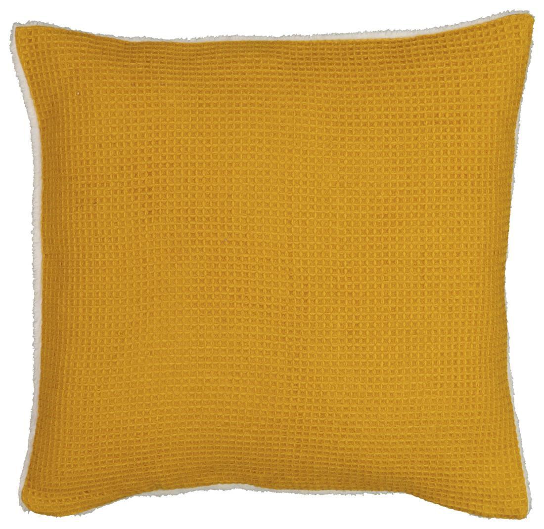 HEMA Kussenhoes Wafel 50x50 - Sherpa - Geel (geel)