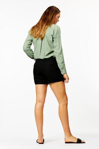 dames short met linnen zwart S - 36282131 - HEMA