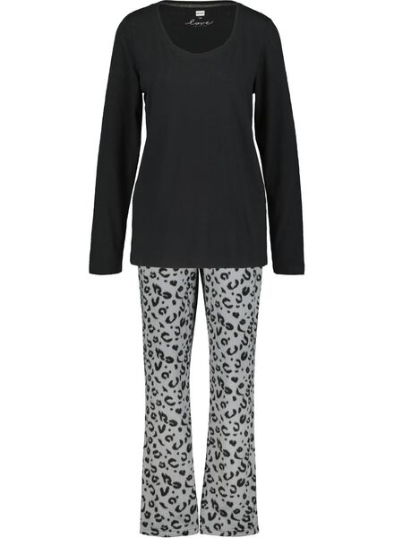 damespyjama zwart zwart - 1000017257 - HEMA