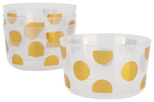 Plastic bakjes herbruikbaar - Ø11 cm - gouden stippen - 4 stuks - in Wegwerpservies
