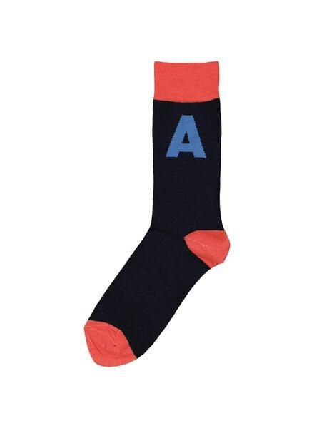 sokken maat 43-46 met letter A grijs A - 60530002 - HEMA