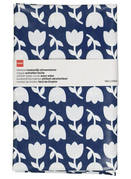 tafelzeil - 140 x 240 - polyester - donkerblauw bloemen - 5300069 - HEMA