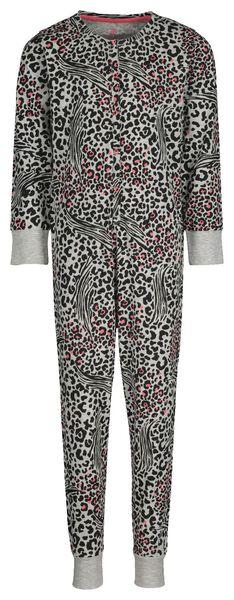 kinder jumpsuit pyjama dierenprint grijsmelange 146/152 - 23030705 - HEMA