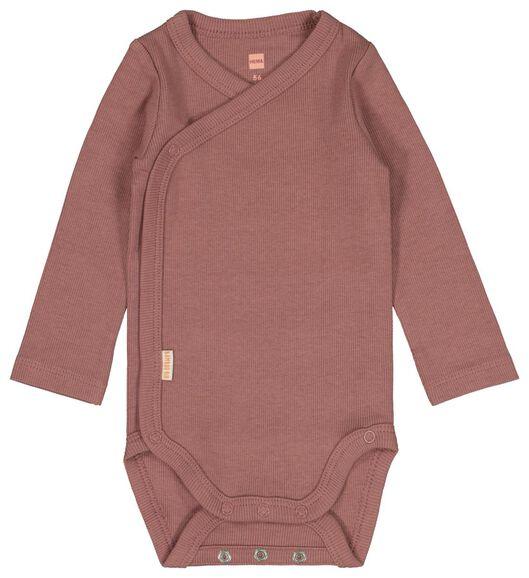 newborn-prematuur overslagromper rib bamboe stretch roze 62 - 33413914 - HEMA