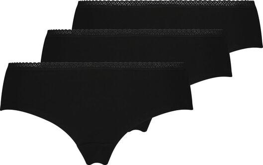 dameshipster - 3 stuks zwart zwart - 1000023085 - HEMA