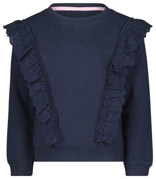 kindersweater broderie donkerblauw donkerblauw - 1000021954 - HEMA