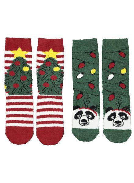 2-pak huissokken kerst groen groen - 1000016946 - HEMA