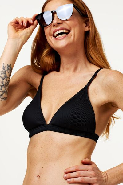 dames bikinitop zonder beugel - rib zwart XS - 22340161 - HEMA