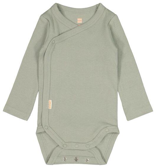 newborn-prematuur overslagromper rib bamboe stretch groen groen - 1000022142 - HEMA