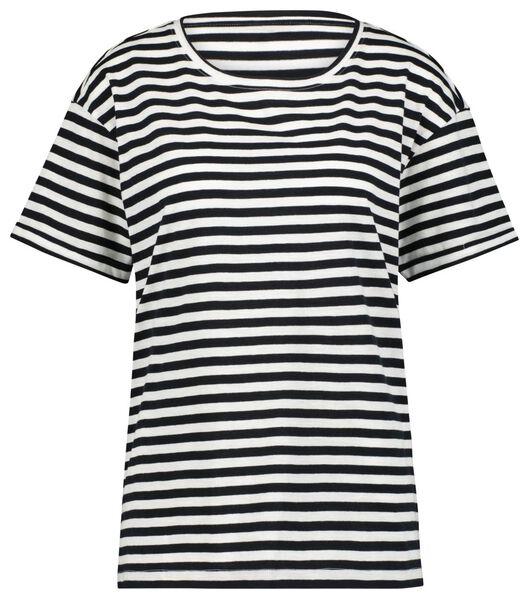 dames t-shirt strepen zwart/wit S - 36314076 - HEMA