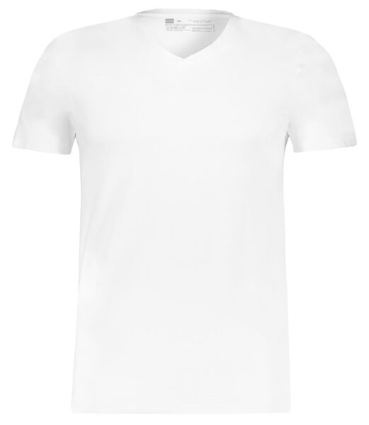 heren t-shirt regular fit v-hals - 2 stuks wit wit - 1000009946 - HEMA