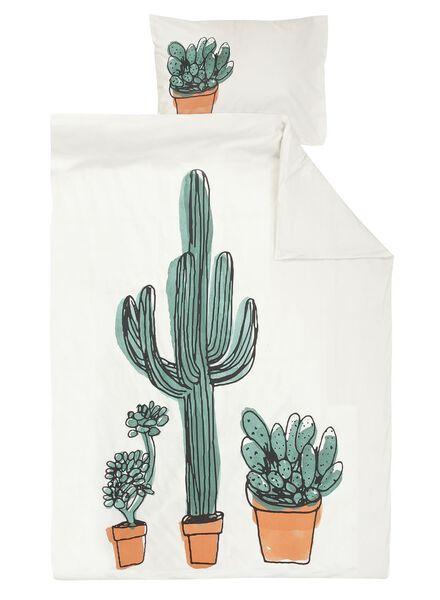 dekbedovertrek - zacht katoen - 140 x 200/220 cm - wit cactus multi 140 x 220 - 5700165 - HEMA