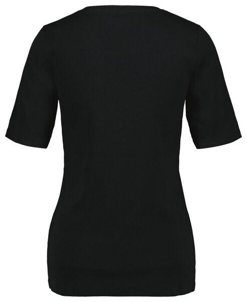 dames t-shirt rib zwart XL - 36204149 - HEMA
