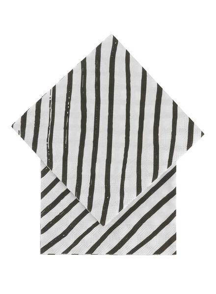servetten - 24 x 24 - papier - zwart/wit strepen - 20 stuks - 14230045 - HEMA