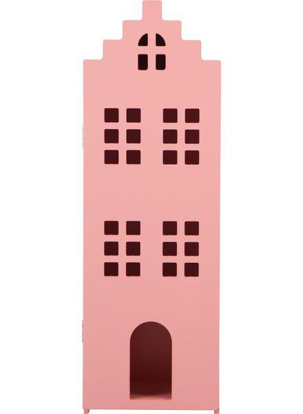 houten grachtenpand - 24.5 x 25 x 75 cm - koraalroze - 15190073 - HEMA
