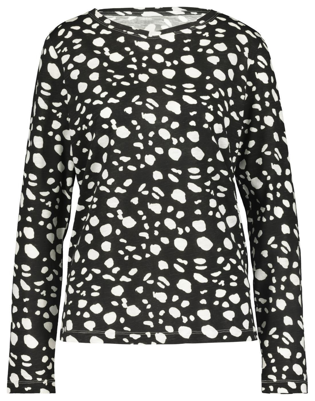 HEMA Dames T-shirt Zwart/wit (zwart/wit)