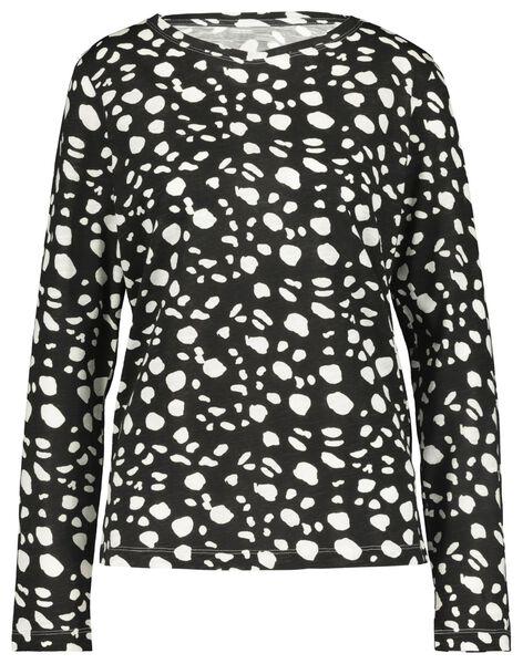 dames t-shirt zwart/wit zwart/wit - 1000018295 - HEMA