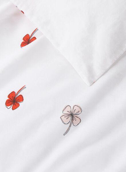 dekbedovertrek - zacht katoen - 200 x 200 cm - wit bloemen - 5700030 - HEMA