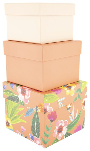 opbergdoos - karton - bloem - 3 stuks - 39890052 - HEMA
