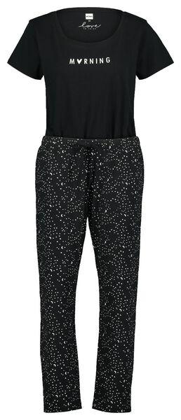 damespyjama sterren zwart zwart - 1000023350 - HEMA